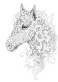 Tattoo, beautiful horse head with a mane - 88635572