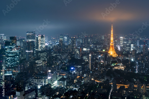 Poster Tokyo from above with Tokyo Tower in the background