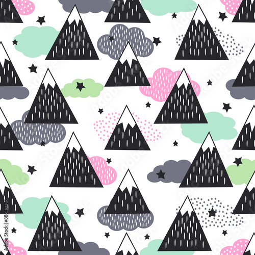 Seamless pattern with geometric snowy mountains, clouds and stars. Graphic nature illustration. Abstract mountains background. - 88648796