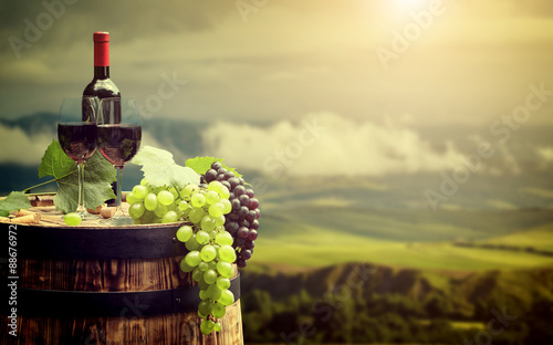 Red wine bottle and wine glass on wodden barrel. Italy