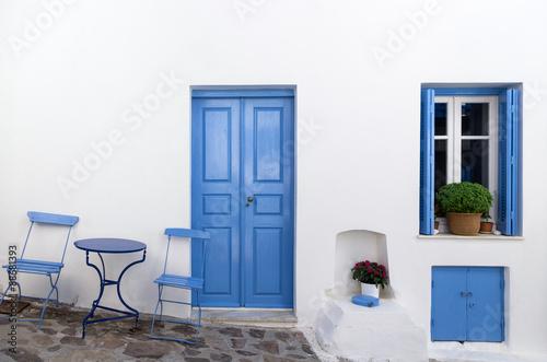 Facade of a house in Milos island, Cyclades, Greece