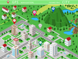 Fototapety Isometric landscapes with city buildings, village, roads, parks, plains, hills, mountains, lakes, rivers and waterfall. Set of detailed city buildings. 3d isometric map with gps navigation