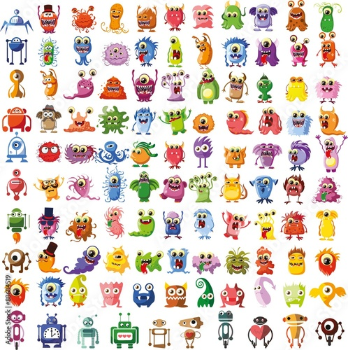 Tapeta ścienna na wymiar Large vector set of drawings of different characters isolated monsters, robots, germs, bacteria, aliens and other Halloween characters for your design, prints and banners