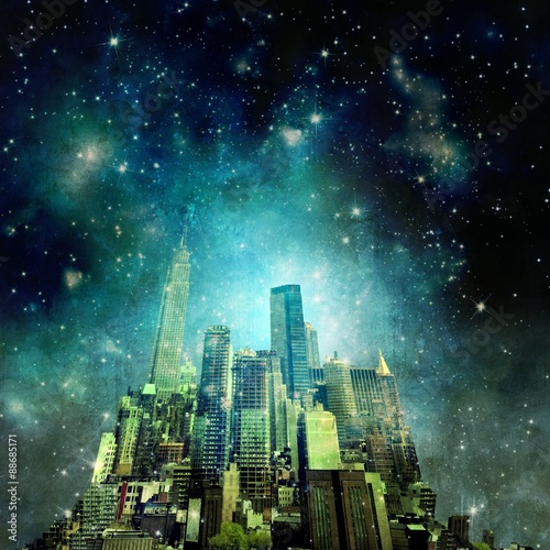 Surreal city skyline in the night with starry sky