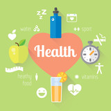 Flat stylish illustration banners set. Medicine and health care, food, sport theme.
