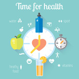 Flat stylish illustration banners set. Medicine and health care, food, sport theme.