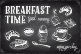 Fototapety Vector hand drawn breakfast and branch background on chalkboard.