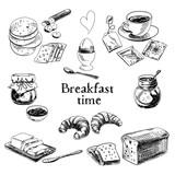 Fototapety Vector breakfast hand drawn set. Vintage illustration.