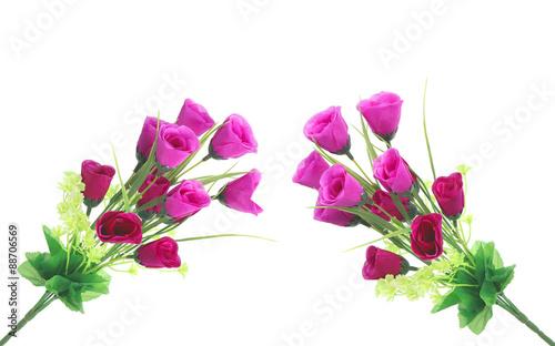 Papiers peints Azalea Rose, artificial flowers isolated on white
