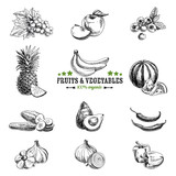 Fototapety Vector set of fruit and vegetables.