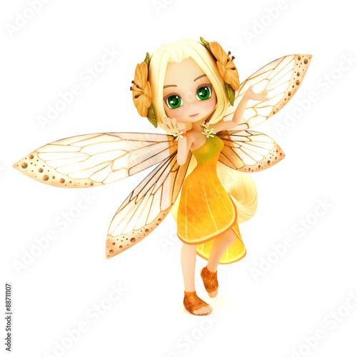 sliczna-toon-czarodziejka-jest-ubranym-pomaranczowa-kwiat-suknie-z-kwiatami-w-jej-wlosy-pozuje-na-bialym-odosobnionym-tle-czesc-malej-serii-wrozek