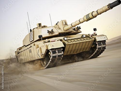 Wojskowy czołg pancerny poruszający się z dużą szybkością z rozmyciem ruchu nad piaskiem. Rodzajowa fotografia realistyczna 3d modela scena.