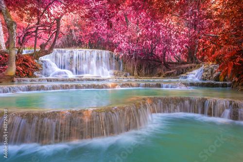 Waterfall in rain forest (Tat Kuang Si Waterfalls at Luang praba
