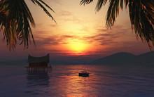 3D render of a female sunbathing on a boat in a tropical landsca