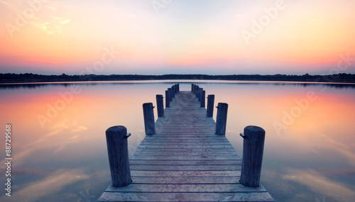 Obraz na Plexi Steg in der Morgendämmerung
