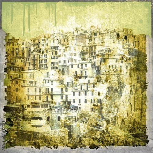 Fototapeta Grunge background with illustration of