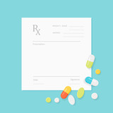 Blank Medicine Prescription Form with Pills Scattered on It