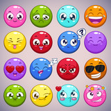 Fototapety Set of colorful cartoon round characters
