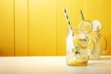 Fototapety Homemade lemonade in mason jars