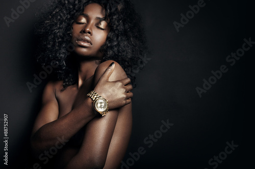 Poster nude black woman with a watch