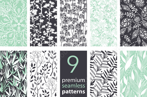 Vector 9 Branches Set Seamless Pattern