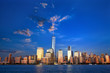 Lower Manhattan skyline at dusk, New York, United States