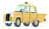Caricatura Mercedes Benz W110-190D taxi Alemania beige vista frontal y lateral