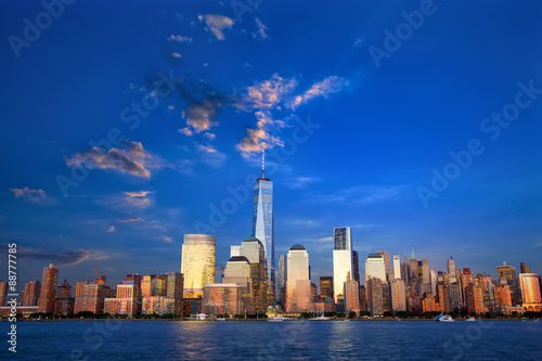 Lower Manhattan skyline at dusk, New York, United States
