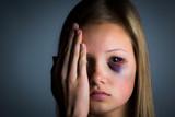 Sad miserable teenage girl, victim of child abuse poster