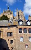 Ancient village on Mont Saint Michel, traditional stone building, France