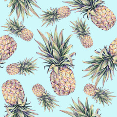 Pineapples on a light blue background. Watercolor colourful illustration. Tropical fruit. Seamless pattern