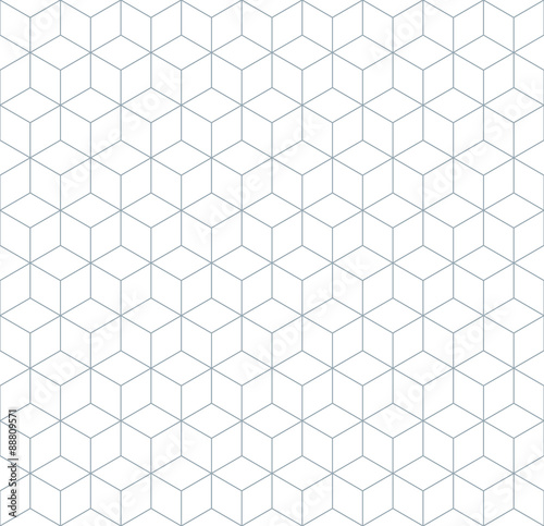 Vector seamless soft white geometric cube tracery pattern - 88809571
