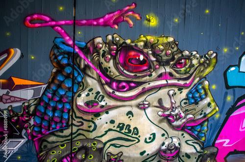 Graffiti: Frosch bei der Jagd Poster