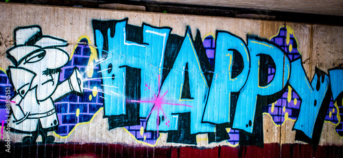 Staande foto Graffiti Graffiti: Happy