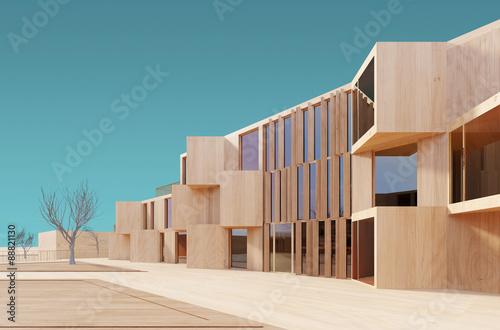 Modern house 3d wood model