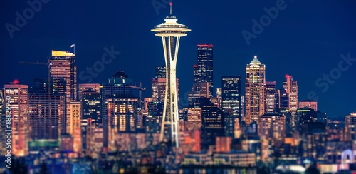 Seattle Night Panoramic Poster