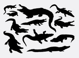 Crocodile reptile wild animal silhouettes