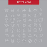 Travel line icon dark concept.