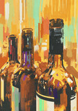 Fototapety colorful painting with bottle of wine,illustration