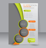 Flyer template. Business brochure. Editable A4 poster for design, education, presentation, website, magazine cover. Green and orange color.