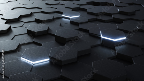 Technical 3D hexagonal background design