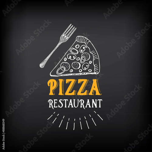 Fototapeta Pizza menu restaurant badges. Food design template.