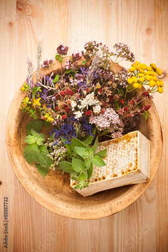 obraz lub plakat Medicinal herbs and flowers. herbal medicine. top view, horizontal