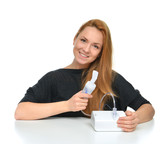 Young woman using nebulizer for respiratory inhaler Asthma Treat poster