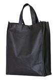 black reusable shopping bag isolated on white