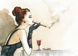 Retro woman portrait with cigarette . watercolor illustration