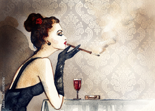 Retro woman portrait with cigarette . watercolor illustration - 88929786