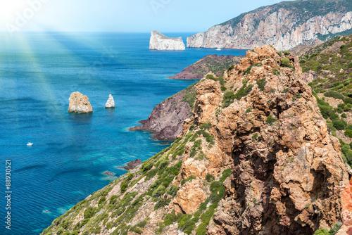 Deurstickers Canarische Eilanden View to tropical sea from the coast