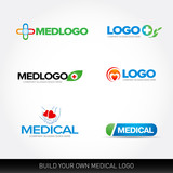 Medical and health logo design templates set. Vector illustration.