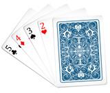 Five poker cards together